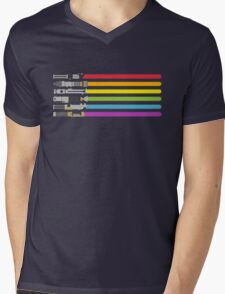 Lightsaber Rainbow Mens V-Neck T-Shirt