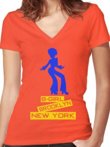 B-GIRL BROOKLYN NEW YORK Women's Fitted V-Neck T-Shirt