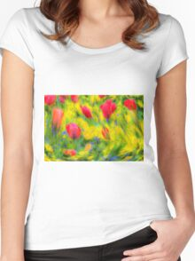 Pastel Summer Flowers  Women's Fitted Scoop T-Shirt