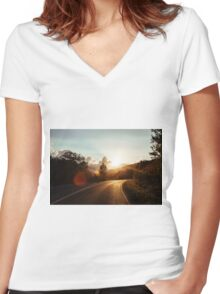 Road at sunset Women's Fitted V-Neck T-Shirt