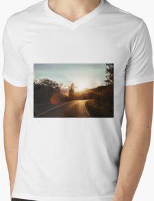 Road at sunset Mens V-Neck T-Shirt