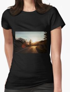 Road at sunset Womens Fitted T-Shirt