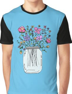 Mason Jar with Flowers Graphic T-Shirt