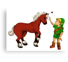 Young Link and Baby Epona Canvas Print