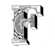 F - Mandala N°1 inside Alphabet N°1 Photographic Print
