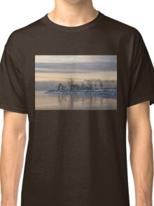 Two Swans, Sleeping - Serene Winter Lake Scene Classic T-Shirt