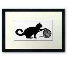 Cat play the Wool Framed Print