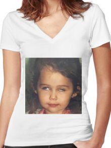 Miley Cyrus as a Baby Women's Fitted V-Neck T-Shirt