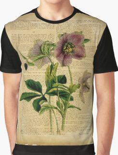 Botanical print, on old book page - flowers Graphic T-Shirt