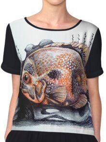 orange & black fish art Chiffon Top
