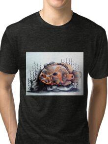 orange & black fish art Tri-blend T-Shirt