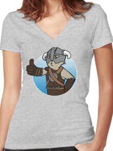 Dovahkiin Boy Women's Fitted V-Neck T-Shirt