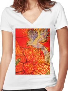 tropical bird with orange flower Women's Fitted V-Neck T-Shirt