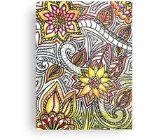 Flower Doodles Metal Print
