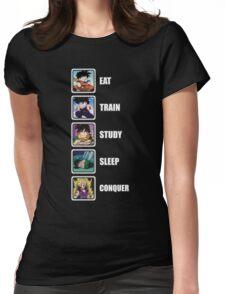 Eat, Train, Study, Sleep, Conquer (Gohan, Vertical) Womens Fitted T-Shirt