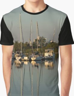 Quiet Summer Afternoon - Boats and Downtown Skyline Graphic T-Shirt