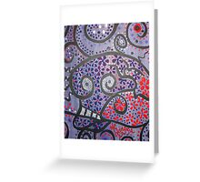 Crazy Skull Purple Blue Red Greeting Card