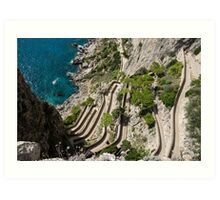 Contemplating Mediterranean Vacations - Via Krupp, Capri Island, Italy Art Print