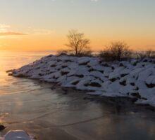 Brilliant, Bright and Cold - a Winter Morning on the Lake Shore Sticker