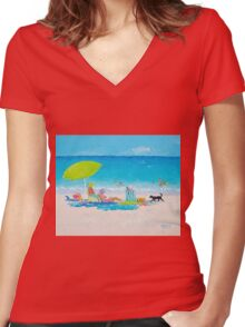 Beach painting - Lazy Beach Day Women's Fitted V-Neck T-Shirt