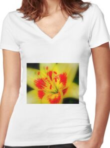 Abstract of a Lily Women's Fitted V-Neck T-Shirt