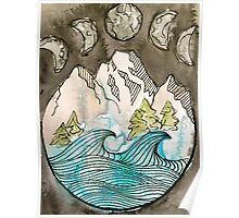 moons, mountains, trees n waves Poster