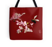 Cherry Blossom & Bee Burgundy Tote Bag