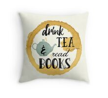 Books and Tea Throw Pillow