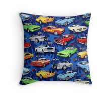 Auto Sports Muscle Cars Pattern Throw Pillow