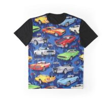 Auto Sports Muscle Cars Pattern Graphic T-Shirt