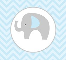 Blue and Gray Elephant with Blue chevron by JessDesigns