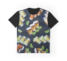 Tequila Shots and Lime Wedges Pattern Graphic T-Shirt