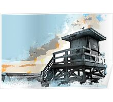 Weathered Life Guard Station at the Shoreline Poster
