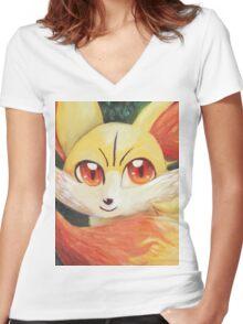 Fire Up Fennekin!!! Women's Fitted V-Neck T-Shirt