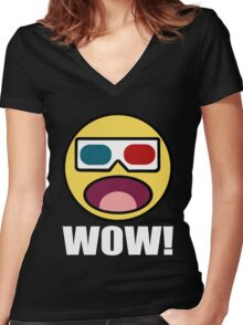 Wow! 3D Women's Fitted V-Neck T-Shirt