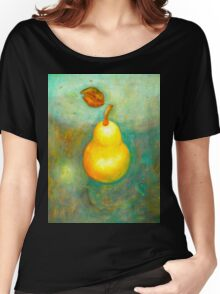 Golden Pear on green background Women's Relaxed Fit T-Shirt