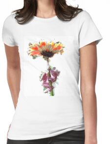 Frog with Flower Umbrella Womens Fitted T-Shirt