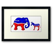 Elephant Vs. Donkey Framed Print