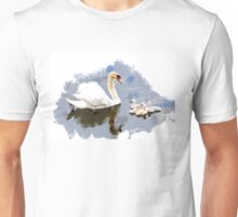Swan and Cygnets on the Pond Unisex T-Shirt