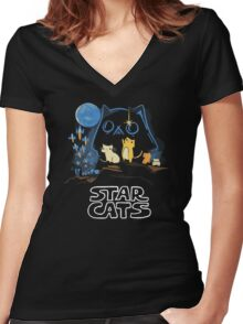 Star Wars Cat Women's Fitted V-Neck T-Shirt