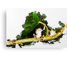 Two Frogs Under a Leaf Canvas Print