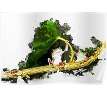 Two Frogs Under a Leaf Poster