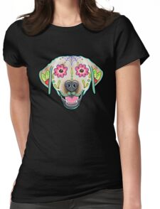 Labrador Retriever in Yellow - Day of the Dead Lab Sugar Skull Dog Womens Fitted T-Shirt