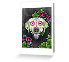 Labrador Retriever in Yellow - Day of the Dead Lab Sugar Skull Dog Greeting Card