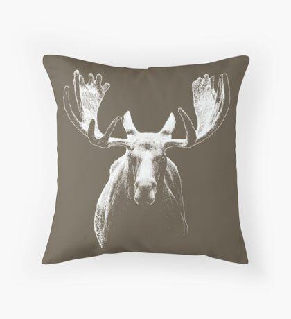 Bull moose white  Throw Pillow