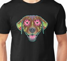 Labrador Retriever in Chocolate - Day of the Dead Lab Sugar Skull Dog Unisex T-Shirt