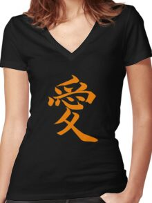 """Love Shirt (Symbol means """"Love"""" in Japanese) Women's Fitted V-Neck T-Shirt"""