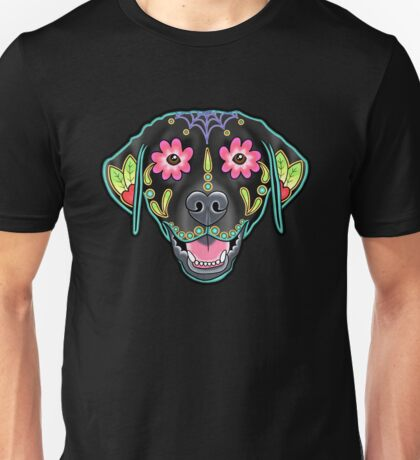 Labrador Retriever in Black- Day of the Dead Lab Sugar Skull Dog Unisex T-Shirt