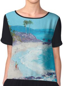 Laguna Beach oil painting Chiffon Top