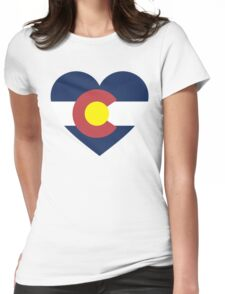 Colorado Flag Heart Womens Fitted T-Shirt
